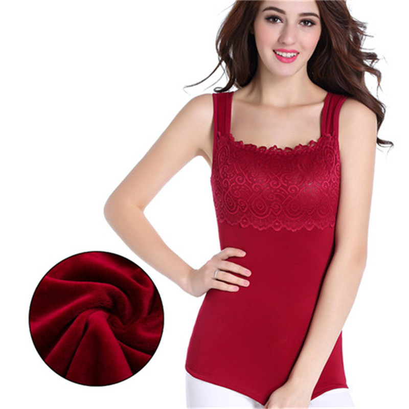 Sexy Women Winter Warm Vest Thermal Underwear Body sculpting Velvet Breathable Thicken Vest MN019