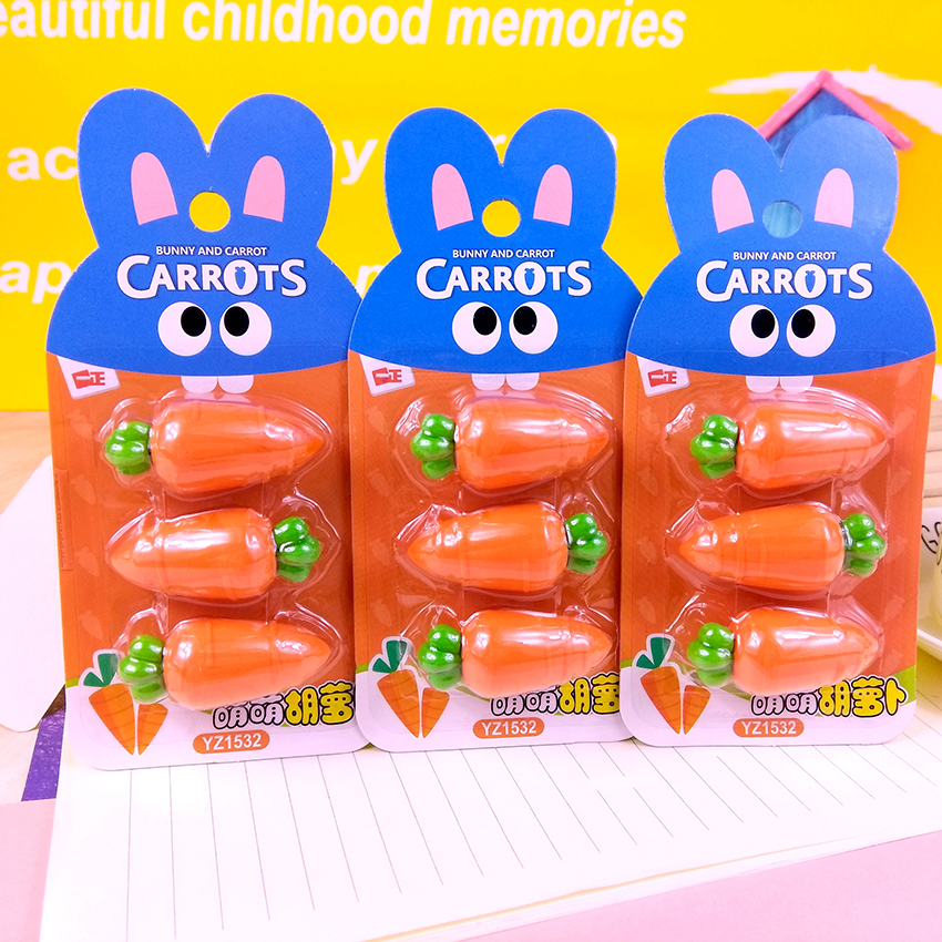 3 PCS/SET Cute Carrot Eraser Material PVC Eraser Korean Creative Cartoon Eraser For Pencil Painting, Writing Art School Supplies