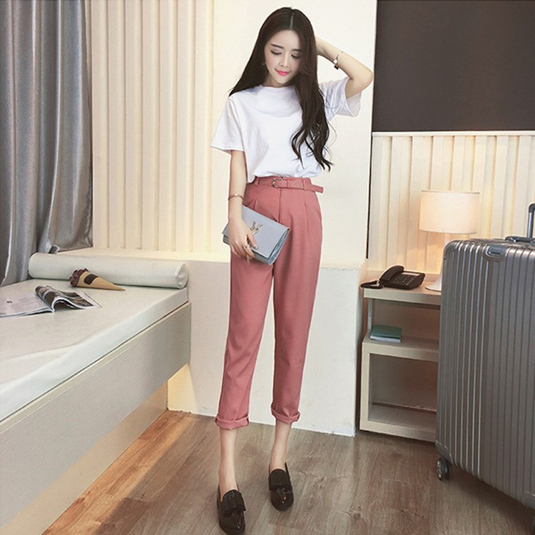 Women Summer Clothing Sets 2 Piece Outfit White T Shirt Belt Pink Pants Suits Women Summer Clothes