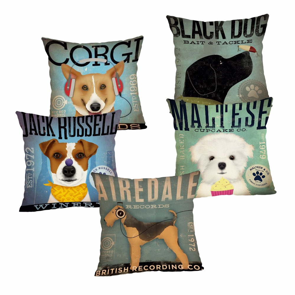 Cute Dog Cushion Cover Cotton Linen Pillow Case Cartoon Home Decorative for Sofa Cojines 43x43cm