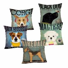 Cute Dog Cushion Cover Cotton Linen Pillow Case Cartoon Dog Cushion Case Home Decorative Pillow Cover for Sofa Cojines 43x43cm