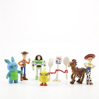 7pcs/set Disney Toy Story 4 Toys Pixar Woody Buzz Lightyear Forky Jessie Action Figure PVC Model For Children Gift