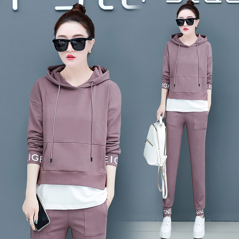 Pink Warm Tracksuit For Women Outfit Sportswear Co-ord Set 2 Piece Hoodies Top Pant Suits Plus Size Large Clothing 2019 Winter