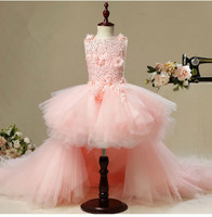 KICCOLY New Long Trailing Flower Girl Dress For Wedding Pink Tulle Floral First Communion Dress Girl Formal Pageant Evening Gown