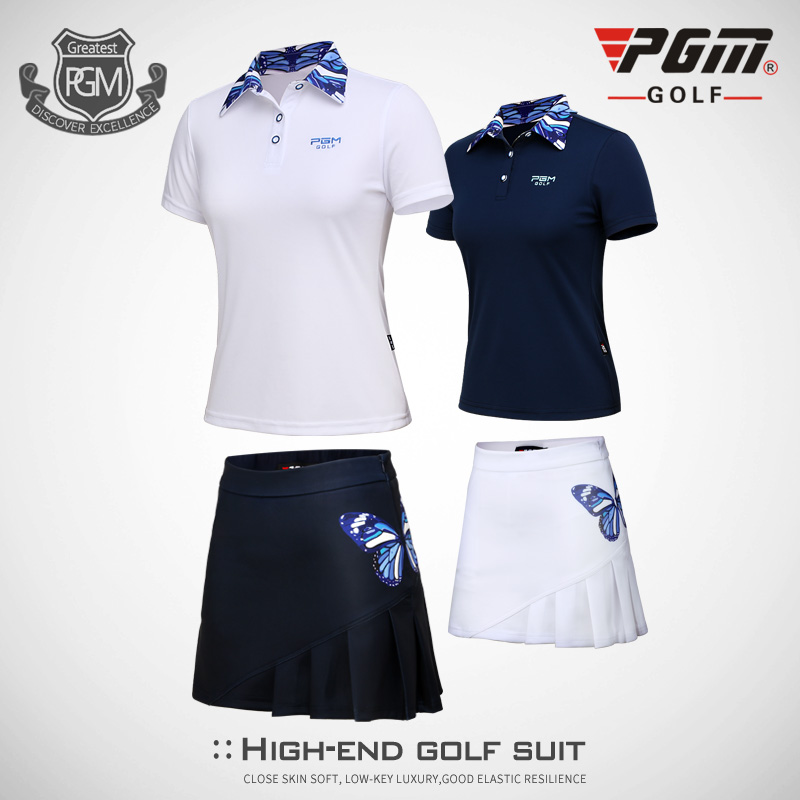 PGM Apparel Woman Top Polo Shirt Summer Breathable Wicking Lady Short-sleeved Golf Shirt Female Suit Butterfly Printed Skirt Set