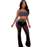 Sexy Rhinestone Sheer Mesh Two Piece Sets Women Sparkly Nightclub 2 Piece Outfits Strapless Crop Top and High Waisted Flare Pant