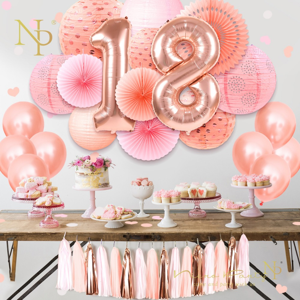US $8.8 8% OFFNicro Sweet 8 8 8th Happy Birthday Party Decoration 8  pcs/set Rose Gold Pink 88 New Balloons DIY Home Decor #Set8Party DIY