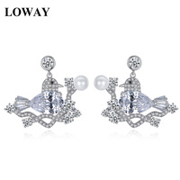 LOWAY Wholesale Korean Fashion Women Accessories Cute Animal Bird With CZ Stud Earrings For Lady Jewelry
