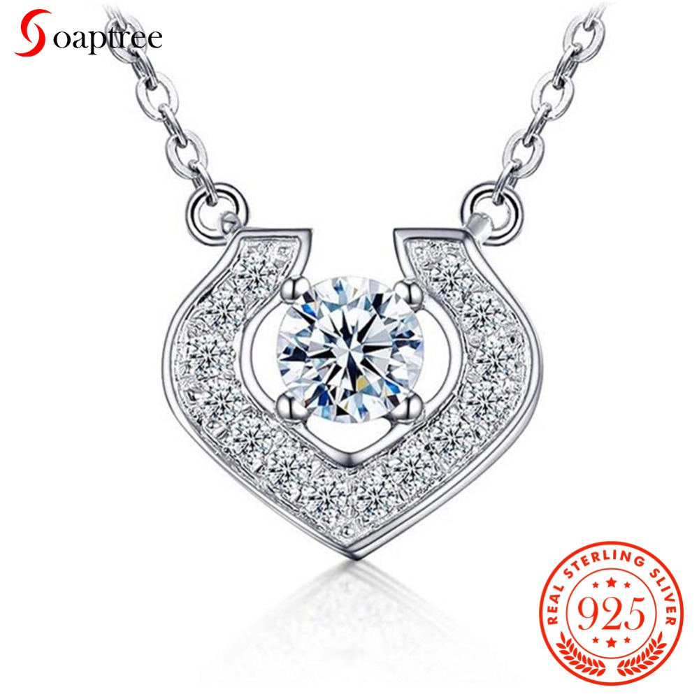 Soaptree Love Necklace Jewelry Queen Lovers Pendants 925 Sterling Silver Cubic Zicronia Heart Neaklace & Pendant Wedding Jewelry