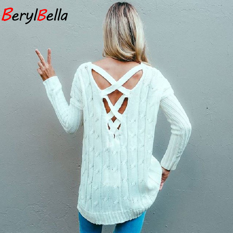 Pullover Sweater For Women Winter Fashion Back Irregular Hollow Knitting Tops Pull Jumper Loose Christmas Sweater BerylBella