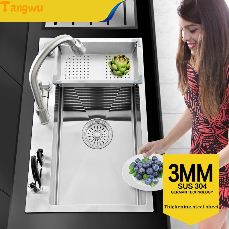 Tangwu kitchen 304 stainless steel hand sink single trough big wash dishes under the table thickening package Germany 75x47cm free shipping food grade 304 stainless steel hot sell kitchen sink double trough 0 8 mm thick ordinary 78x43 cm