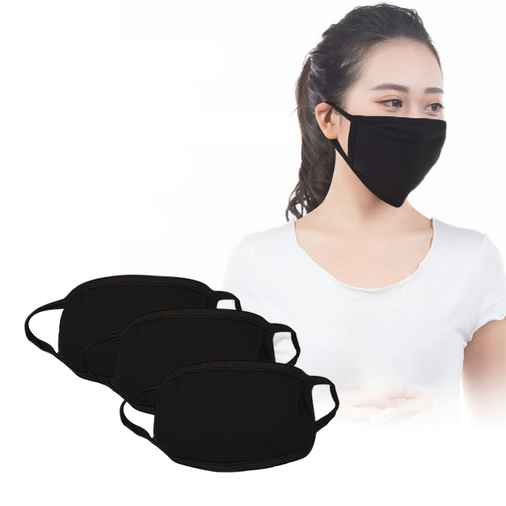 Black Face Mask Cotton Mouth Mask Anti Haze Dust Masks Filter Windproof Mouth-muffle Bacteria Flu Fabric Cloth Respirator S3 Strong Packing Apparel Accessories Men's Masks