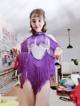 Women Sexy Slim Purple Tassel Rhinestone Bodysuit Costumes  Female Singer Dj Stage Wear Performance Fashion Prom Leotard