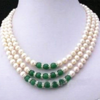 Elegant Wome 3 Rows 7 8mm Natural White Freshwater Cultured Pearl Green Jasper Round Beads Necklace