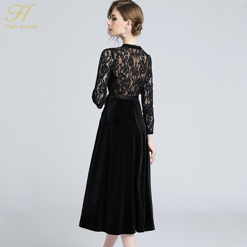 dc3d2d66ccaf9 H Han Queen Women New 2018 Autumn Black Lace Dress High-End Ladies O-