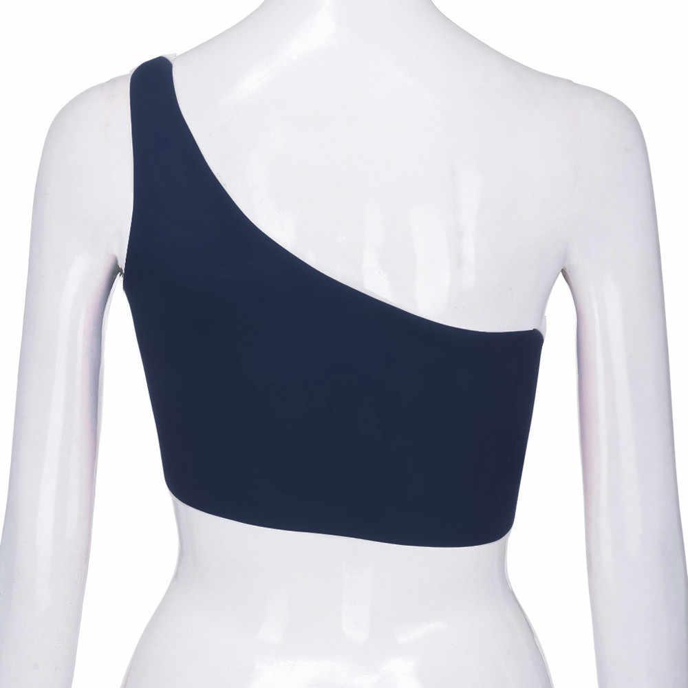 Letnie panie topy moda bez rękawów Off ramię Top kobiety jednolity kolor Crop topy ubrania imprezowe odzież damska #524