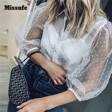 Missufe Sexy Perspective Mesh Lace Blouse Shirts Women White Blouse Tops Hollow Out Puff Sleeve Retro 2019 Summer Blouse Women недорого