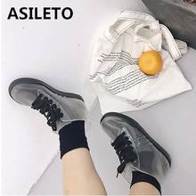 ASILETO Women Transparent Rain Boots flat heels Rubber Lace Up Women Ankle Boots Ladies Waterproof shoes Woman bottes mujer G220(China)