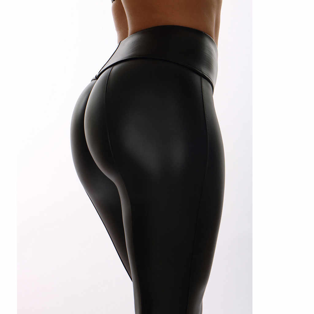 0ebd86aaa3 ... High Waist Club Women's Solid Workout Leggings Fitness Skinny Sexy  Pencil Stretch Sports Leather Pants Athletic ...