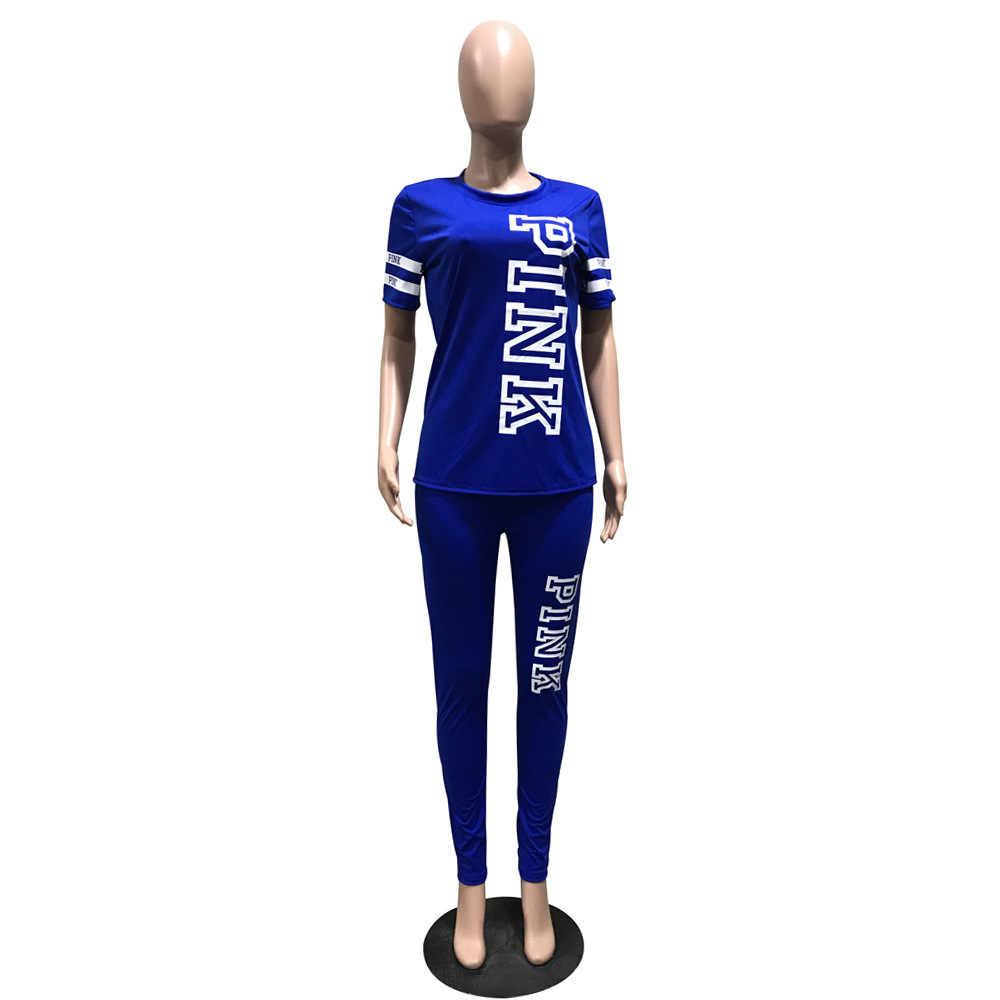 RAISEVERN ピンクレタープリント女性半袖 Tシャツと長ズボン 2 個セットフィットネス女性夏のトラックスーツ 2019