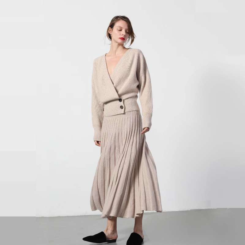 adohon 2018 womens Cashmere knitting skirts Pleated Solid Casual A line Ankle Length