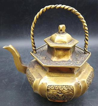 Collectible Relievo human Delicate Decor Old brass Teapot