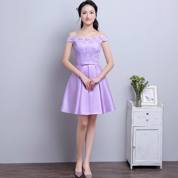 Satin Lavender Sexy Short Bridesmaid Dress Off Shoulder Formal
