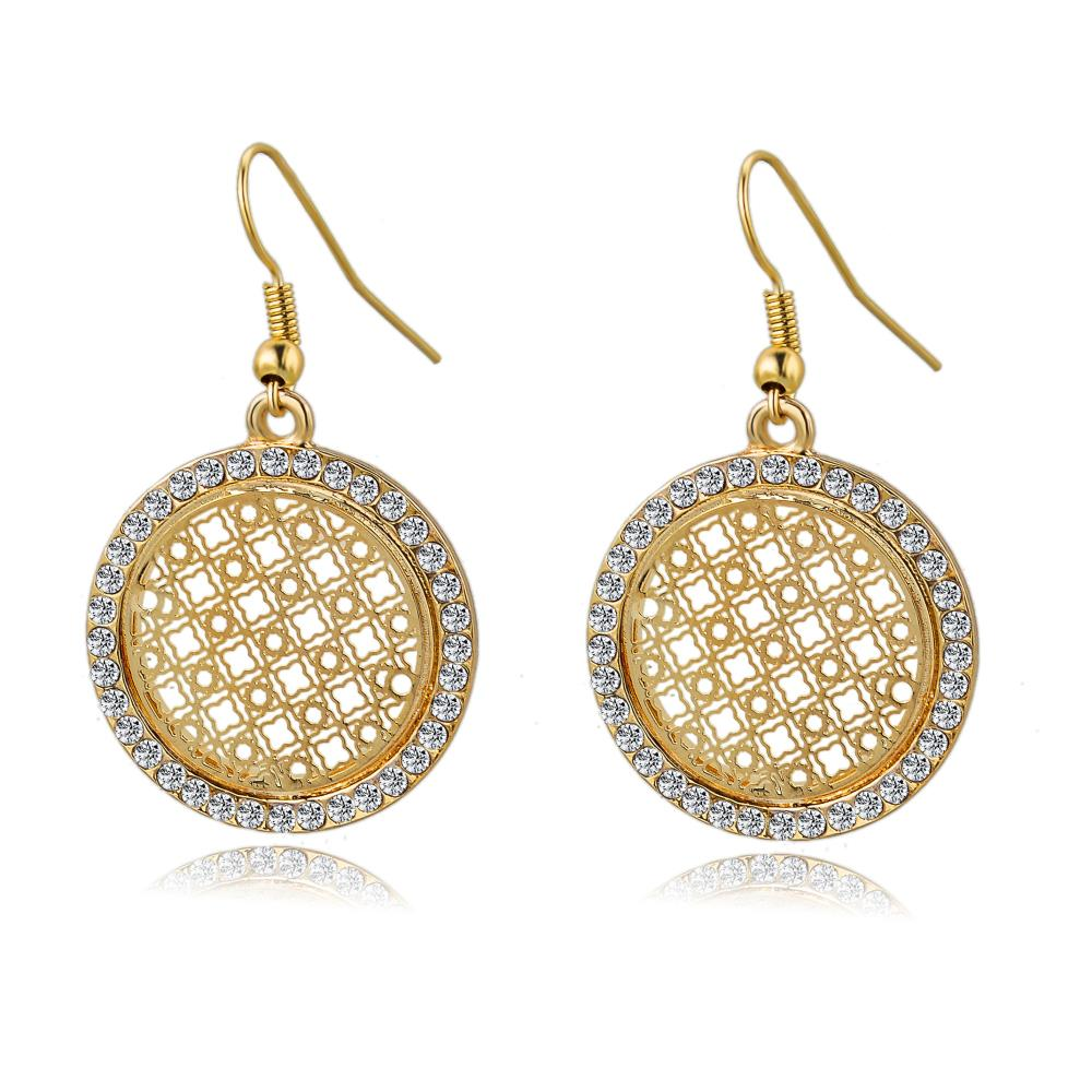 New Vintage Silver Gold Earrings Design Fashion Big Crystal Drop ...