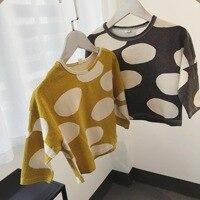 Bebek Kız T Shirt ile Polka Dot Baskılı Batwing Kol Tops çocuklar için Yeni Uzun Kollu Bahar Yaz Gevşek Tarzı T Shirt çocuklar