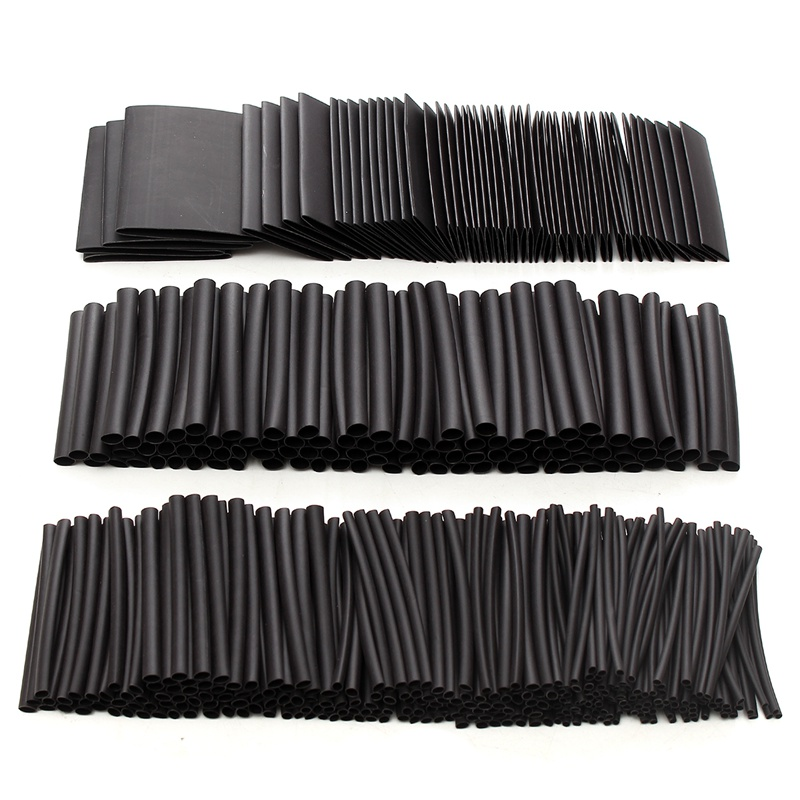 415pcs Black Heat Shrink Sleeve HeatShrink Tubing Sleeving Wrap Wire Insulation Materials & Elements NEW недорого