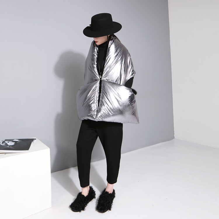 Buy Home Made Sense Of The Future Of Space Silver Black Pocket With A Large Cotton Shawl Coat 2 Colors for $43.70 in AliExpress store