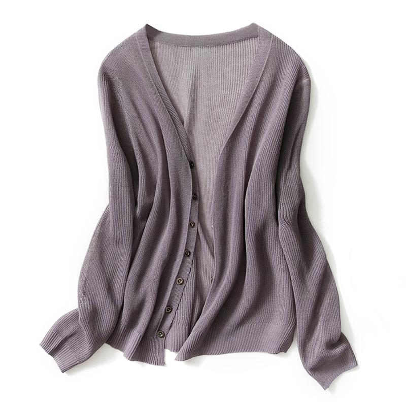 Autumn new knit cardigan solid color simple fashion breathable soft and comfortable loose short sweater cardigan-Free shipping