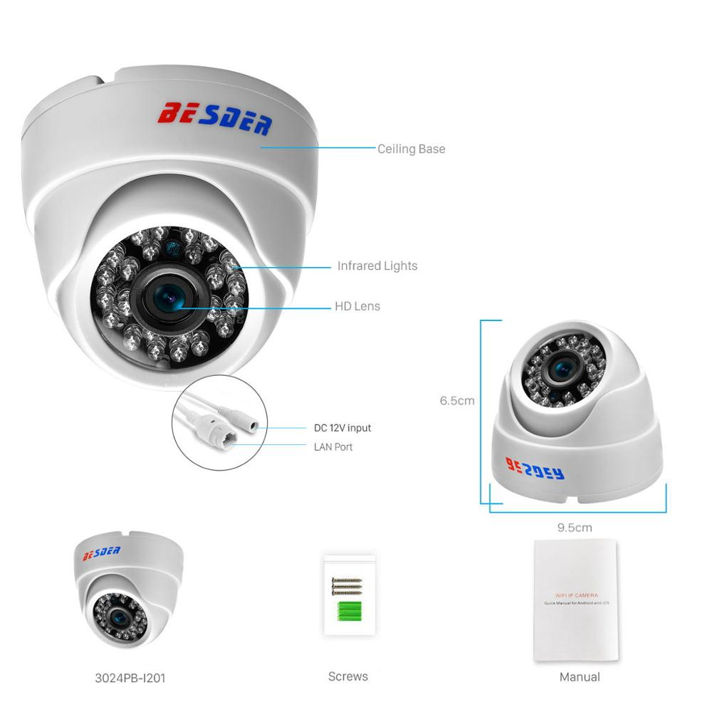Image 3 - BESDER 2.8MM Wide Angle IP Camera 720P/1080P P2P H.264 Onvif Small CCTV Indoor Dome Surveillance Video Camera RTSP 48V POE XMEye-in Surveillance Cameras from Security & Protection