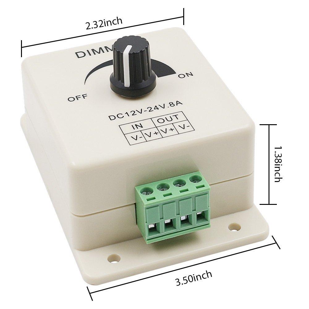 Светодиодный диммер DC 12V 24V 8A Регулируемая яркость лампы полосы драйвер один цвет свет блок питания контроллер