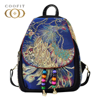 Coofi 2018 New Arrival Vintage Female Backpack Characteristics Beaded Canvas Backpack Ethnic Style Embroidery Peacock Bagpack