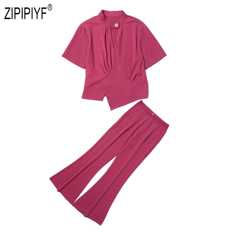 2019 Summer Fashion Women Suits Hollow Out Short Sleeve One Button Blouse Top Long Flare Zipper Up Skinny Office Lady Pant Z1506