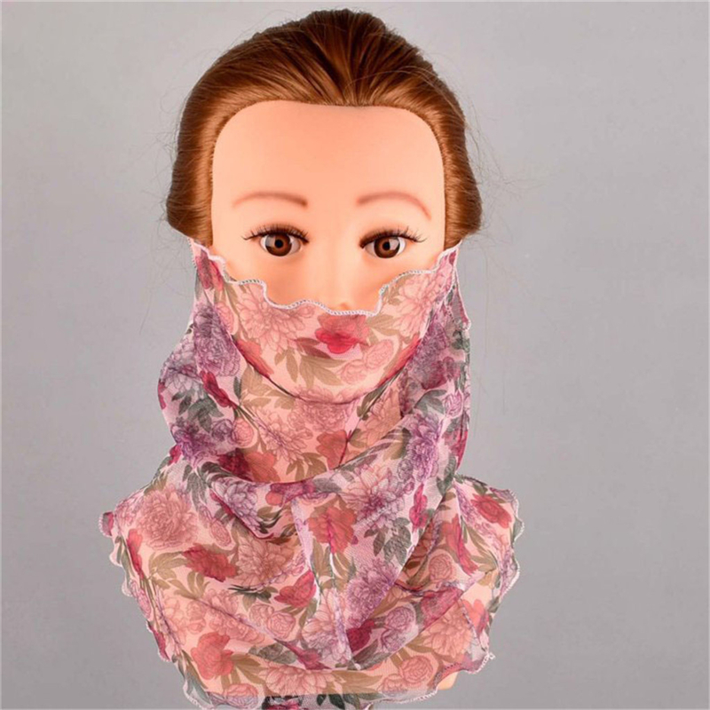 Das Beste Jaycosin Frauen Mode Seide Schal Dünne Mesh Hängen Schal Neck Schal Sonnencreme Gefälschte Kragen Blumen Gedruckt Schal Dropship Ap26