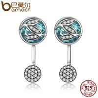 BAMOER 100 925 Sterling Silver Green Glass Dazzling CZ Tree Of Life Drop Earrings For Women