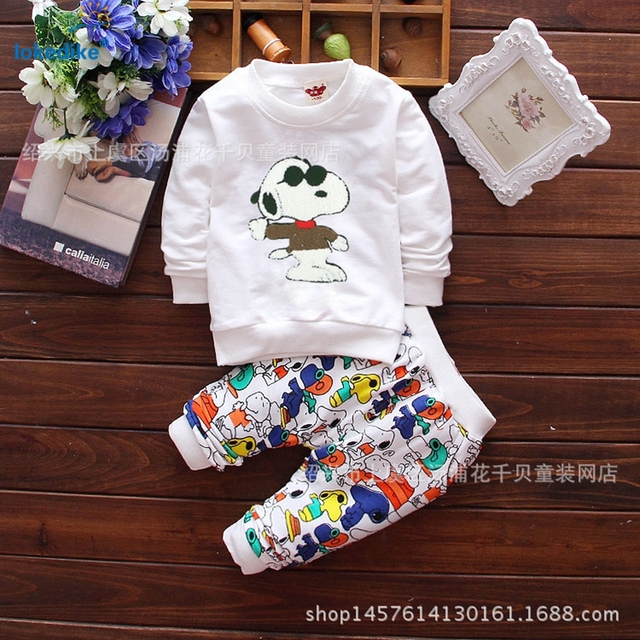 Autumn Winter Boys Girls Cartoon Dog Clothes 2017 New Arrival Kids Toddler Clothing 2 pieces Set Unisex Children Set Cotton T649