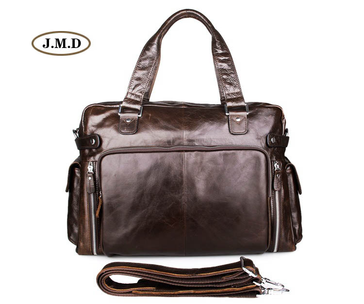 J.M.D New Style Genuine Cow Leather Brown Business Men Messenger Bag Fashion Shoulder Bag Briefcase Travel Bag Handbag 7288Q