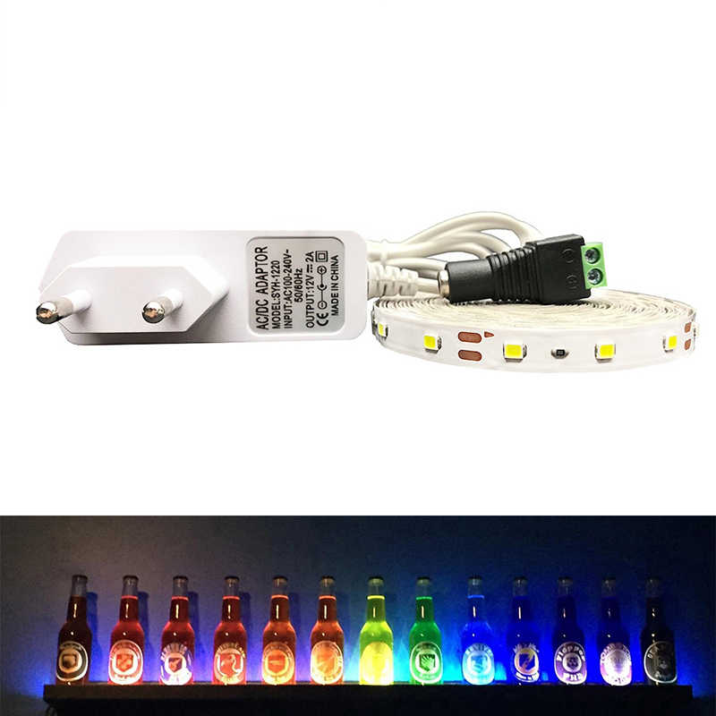 RGB LED Strip Lampu 3528 SMD 5 M 60 LED/M LED Flexible Strip Lampu IR Remote Controller V 2A Adaptor Daya Pita LED