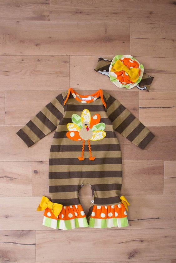 Thanksgiving Baby Clothes Girls Romper Cartoon Turkey Newborn Baby Clothing Jumpsuit Baby Romper With Headband R009