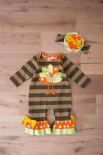 Thanksgiving Baby Clothes Girls Romper Cartoon Turkey Newborn Baby Clothing Jumpsuit Baby Romper With Headband R009