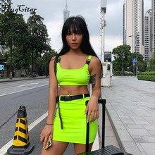 Hugcitar buckle band camis skrit 2 two piece set 2019 summer women fashion belt patchwork neon green streetwear sets