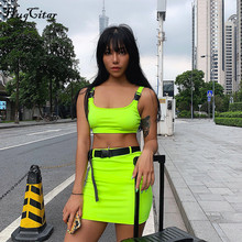 Hugcitar schnalle band camis skrit 2 zwei stück set 2019 sommer frauen mode gürtel patchwork neon grün streetwear sets