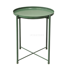 Nordic Style Modern Metal Round Tray Small Tea Table Coffee Table Sofa Side Living Room Carbon Steel Simple Elegant Furniture
