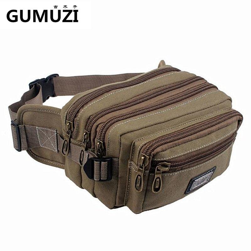 High Quality Canvas Men Waist Packs Messenger Bags Portable Vintage Mens Phone Purse Fashion Casual Male Travel bag Belt Wallet