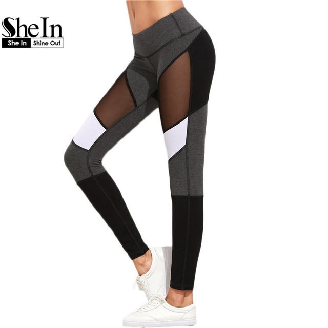 SheIn Casual Leggings Aptidão Das Mulheres Leggings Calças de Treino Nova Chegada do Bloco da Cor do Outono Inverno Malha Insert Leggings