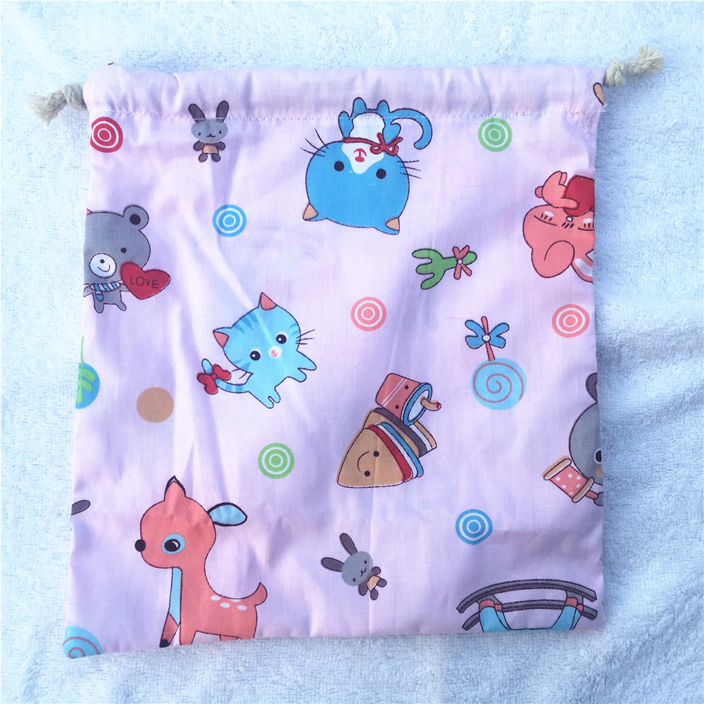 1pc Cotton Twill Drawstring Sorted Organiser Party Gift Bag Printed Animals Cat Gifaffes YL
