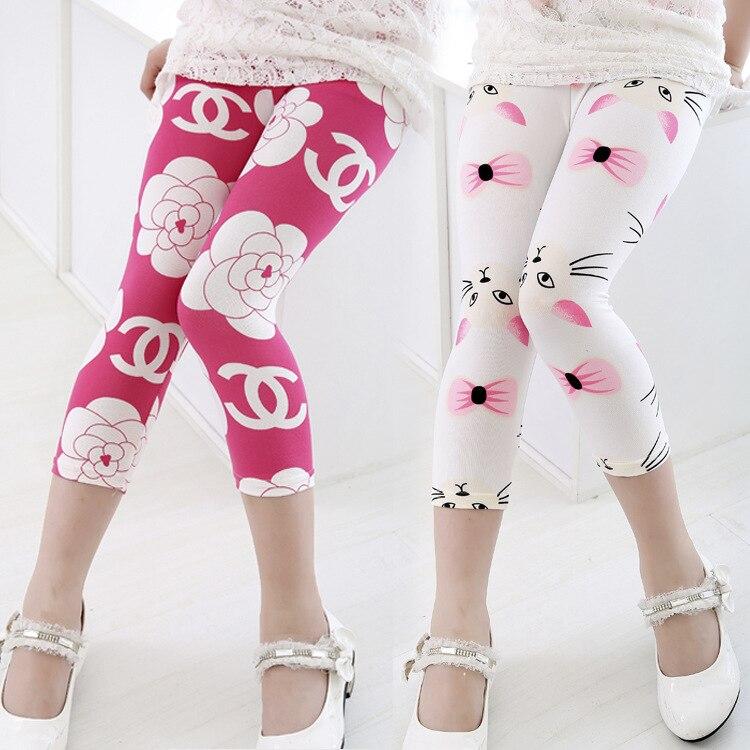 bajo patrn becerro de longitud pantalones de las muchachas del verano al por menor de algodn